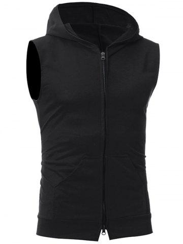 Discount Zip Up Kangaroo Pocket Hooded Vest BLACK 2XL