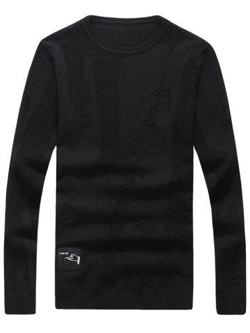 Fashion Abstract Pattern Patch Crew Neck Sweater - 2XL BLACK Mobile