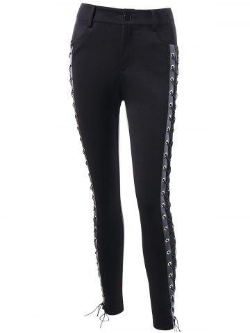 Outfit Skinny Lace Up High Waist Pants - L BLACK Mobile
