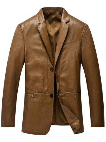 Cheap Lapel Collar Single Breasted Faux Leather Blazer LIGHT BROWN L