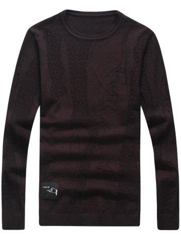 Store Abstract Pattern Patch Crew Neck Sweater WINE RED 3XL