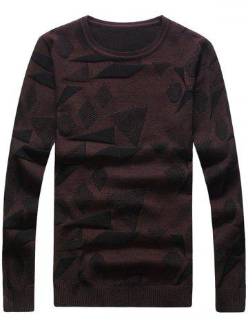 Discount Geometric Pattern Crew Neck Pullover Sweater - 2XL WINE RED Mobile