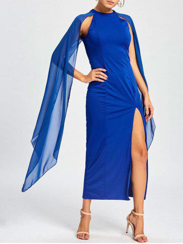 Affordable Chiffon Maxi Cape Dress - XL BLUE Mobile