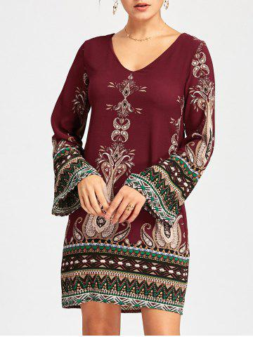 Affordable Bohemian Mini Bell Sleeve Graphic Dress - L WINE RED Mobile