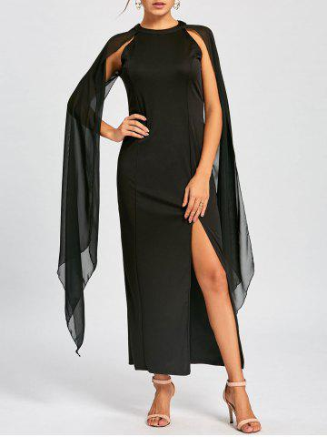 Latest Chiffon Maxi Cape Dress BLACK M