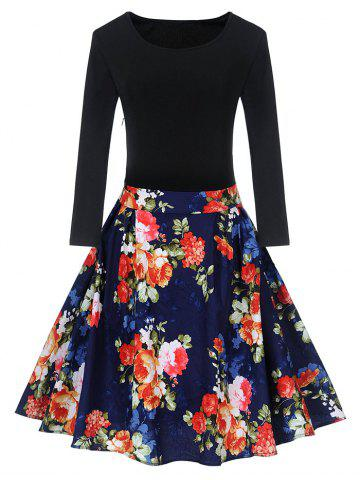 Cheap Vintage Floral Print Pin Up Skater Dress - 2XL BLUE AND RED Mobile