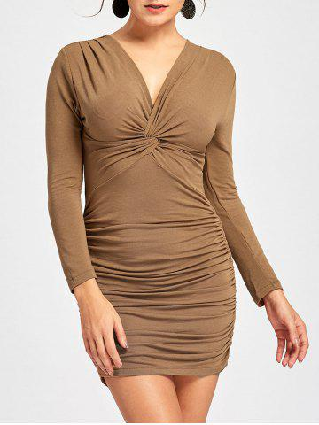 Outfit Long Sleeve Draped Bodycon Dress KHAKI XL