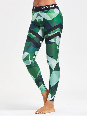 Discount Triangle Pattern Printed Yoga Leggings - L GREEN Mobile