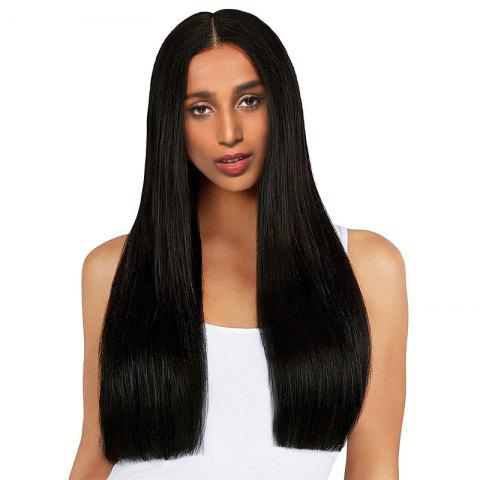 Discount Long Middle Part One Length Straight Synthetic Wig - BLACK  Mobile