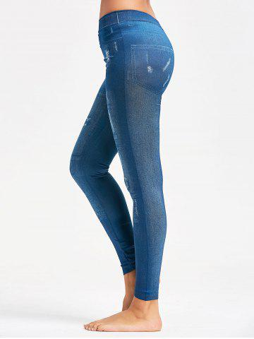 Collants Faux Faded Jeggings Bleu TAILLE MOYENNE