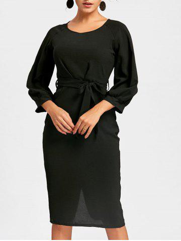 Shops Back Slit Sheath Midi Dress - S BLACK Mobile