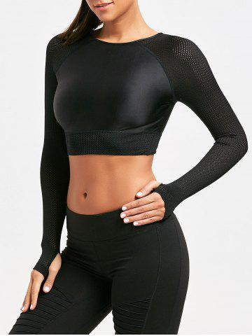 Best Mesh Panel Long Sleeve Crop T-shirt BLACK M