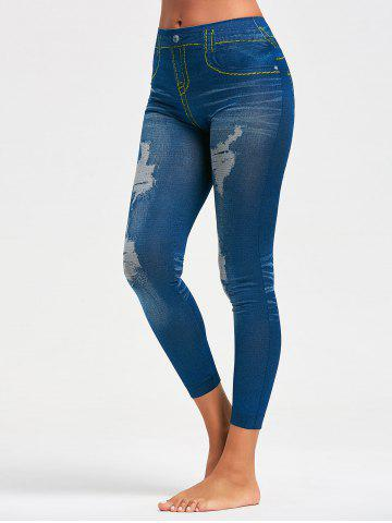 Affordable Faux Distressed Print Jeggings - ONE SIZE BLUE Mobile