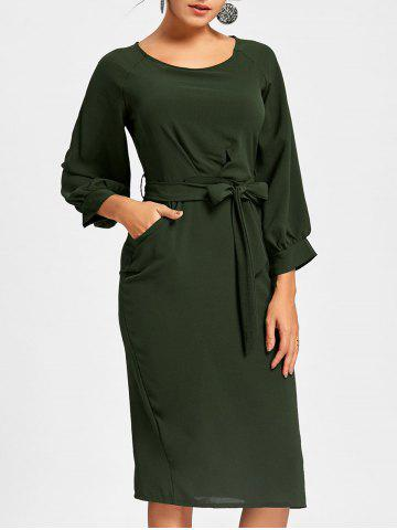 Shops Back Slit Sheath Midi Dress DEEP GREEN XL