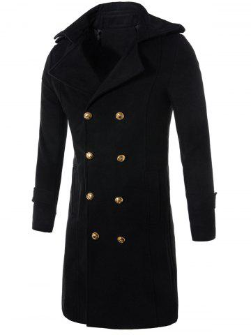 Chic Longline Double Breasted Wool Blend Trench Coat - 3XL BLACK Mobile