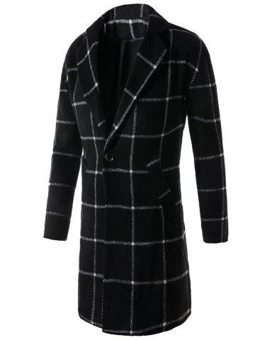 Best Lapel One Button Graphic Print Checked Coat BLACK M