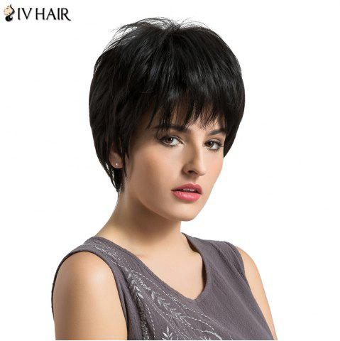 Cheap Siv Hair Short Layered Fluffy Straight Human Hair Wig BLACK