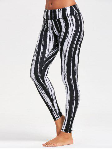 Tie Dye Striped Printed Running Leggings Noir XL