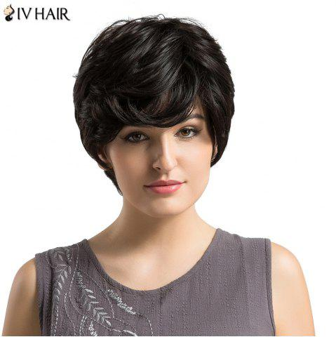 Discount Siv Hair Short Side Bang Fluffy Layered Slightly Curled Human Hair Wig BLACK