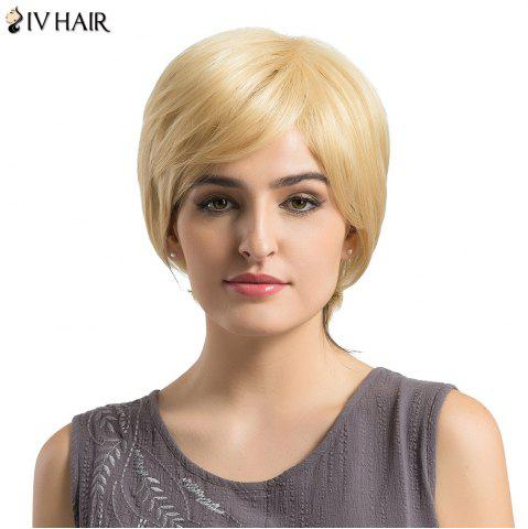 Cheap Siv Hair Short Side Bang Fluffy Layered Slightly Curled Human Hair Wig - BLONDE #613  Mobile