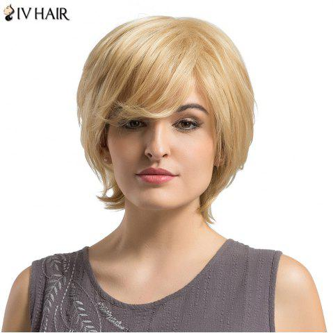 Fancy Siv Hair Short Side Bang Fluffy Layered Slightly Curled Human Hair Wig LIGHT GOLD