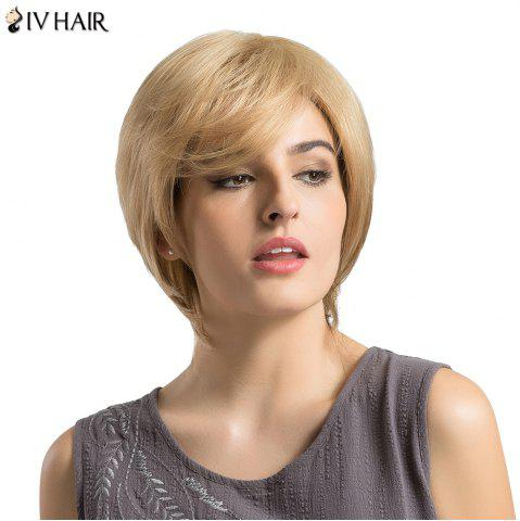 Siv Hair Short Side Bang Fluffy Layered Lustrement ondulé Perruque de cheveux humains