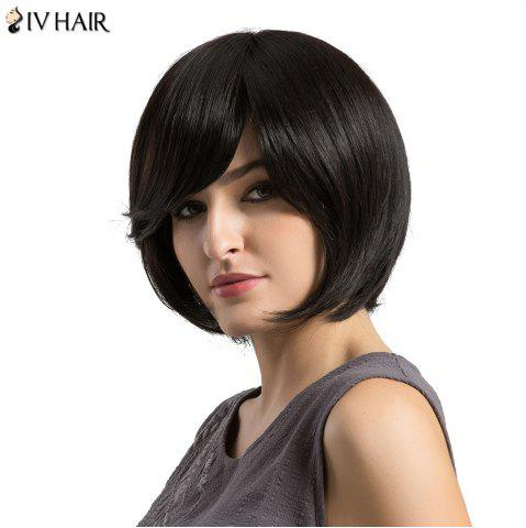Outfits Siv Hair Short Upwards Side Bang Straight Bob Human Hair Wig - BLACK  Mobile