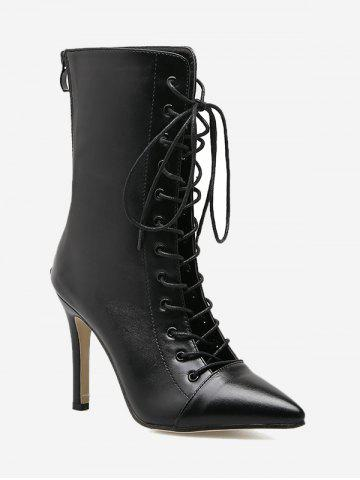Shop Stiletto Pointed Toe Criss Cross Boots BLACK 35