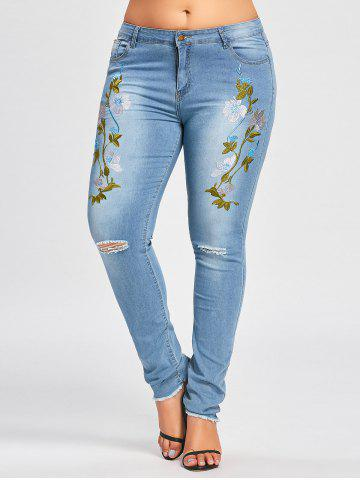 Fancy Floral Embroidered Plus Size Distressed Jeans - 2XL BLUE+PURPLE Mobile