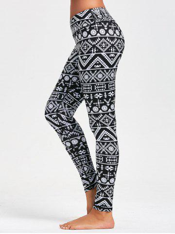 Affordable Geometric Pattern Slim Leggings for Running BLACK L