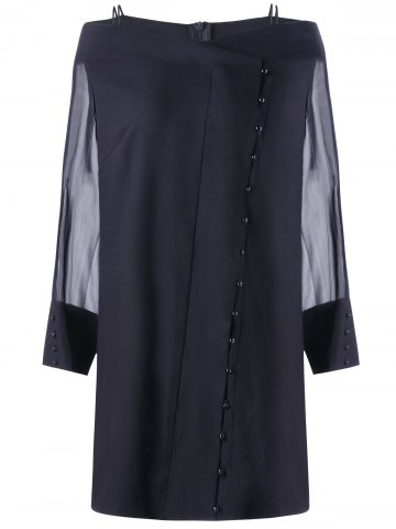 Latest Button Sheer Long Sleeve Plus Size Dress