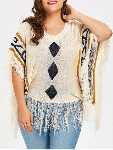 Taille supérieure Tassel Hem Poncho Argyle Sweater Abricot TAILLE MOYENNE