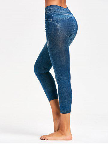 Latest Printed Slimming Jeggings BLUE ONE SIZE