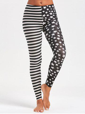 Trendy Contrast Stripes and Stars Printed Sports Leggings - ONE SIZE BLACK Mobile