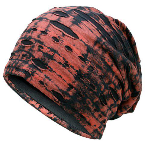 Sale Ink Print Double-Deck Ripped Beanie RED