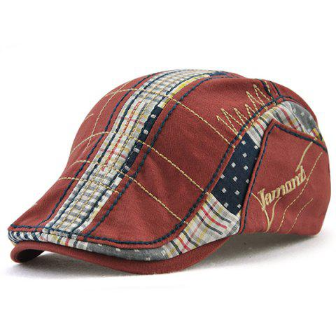 Fashion Outdoor Tartan Embroidery Newsboy Hat - WINE RED  Mobile