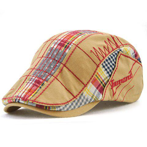 Trendy Outdoor Tartan Embroidery Newsboy Hat