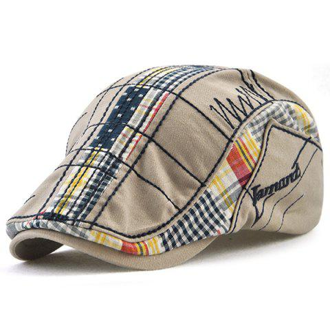 New Outdoor Tartan Embroidery Newsboy Hat - GRAY  Mobile