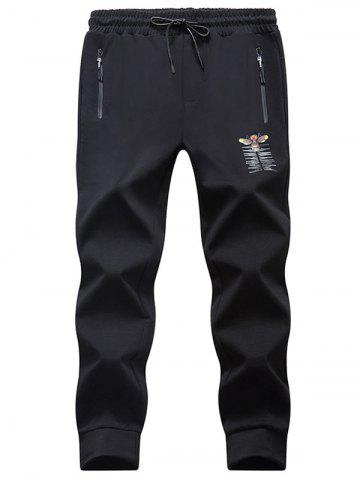 Discount Tiger Bee Print Drawstring Waist Jogger Pants BLACK M