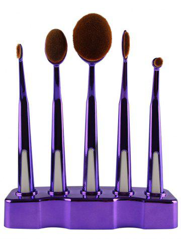 Outfit 5 Piece Soft Oval Make-up Brush Set with Brush Holder - PURPLE  Mobile