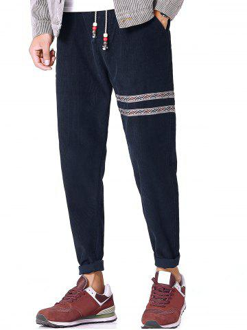 Trendy Tribal Stripe Drawstring Corduroy Pants PURPLISH BLUE L