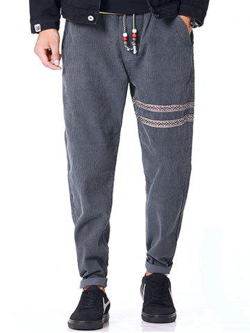 Hot Tribal Stripe Drawstring Corduroy Pants - XL GRAY Mobile
