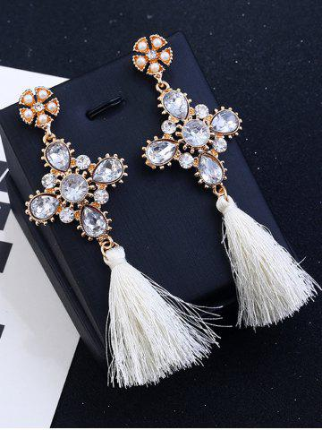 Unique Floral Rhinestone Cross Design Tassel Drop Earrings WHITE