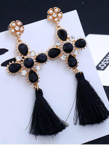 Sale Floral Rhinestone Cross Design Tassel Drop Earrings BLACK