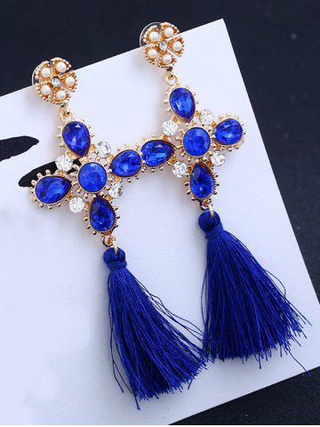 Shop Floral Rhinestone Cross Design Tassel Drop Earrings BLUE