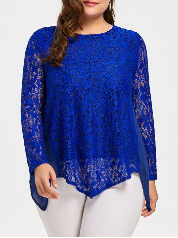 Plus Size Handkerchief Hem See Through Lace Blouse Bleu 3XL