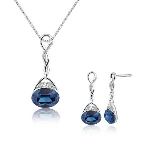 Buy Faux Gem Rhinestoned Oval Jewelry Set - BLUE  Mobile
