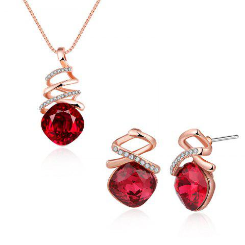 Chic Rhinestone Faux Crystal Charm Jewelry Set RED