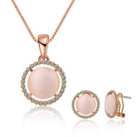 Cheap Rhinestone Faux Opal Round Jewelry Set - ROSE GOLD  Mobile