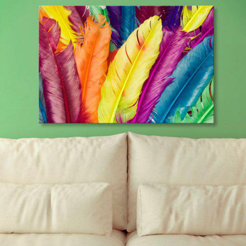 Hot Wall Art Feather Print Canvas Painting COLORFUL 1PC:24*39 INCH( NO FRAME )